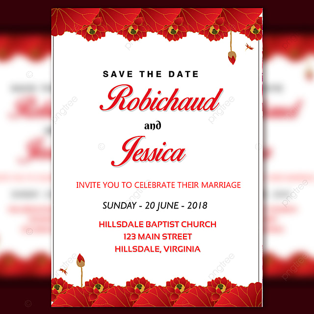 wedding invitation card with red flower upper and lower
