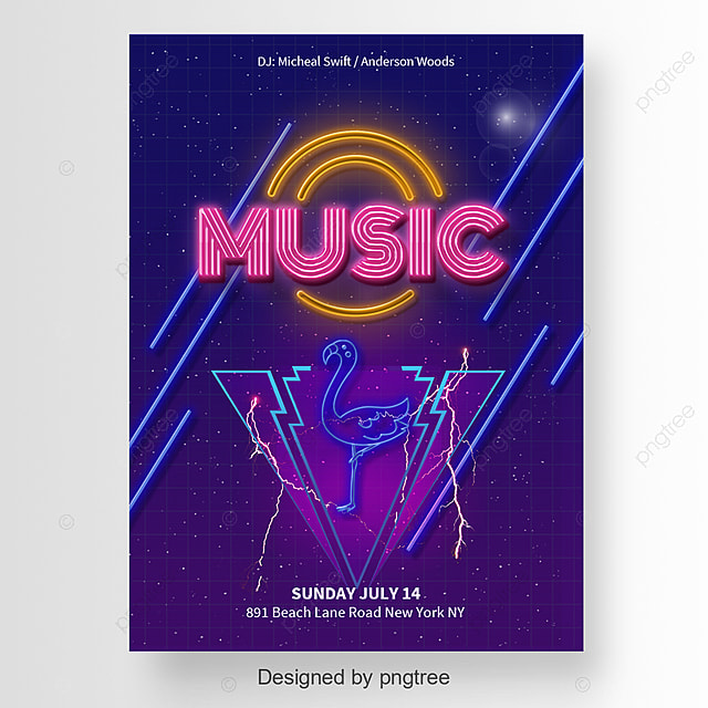 fashion music party poster with a flamingo template for free