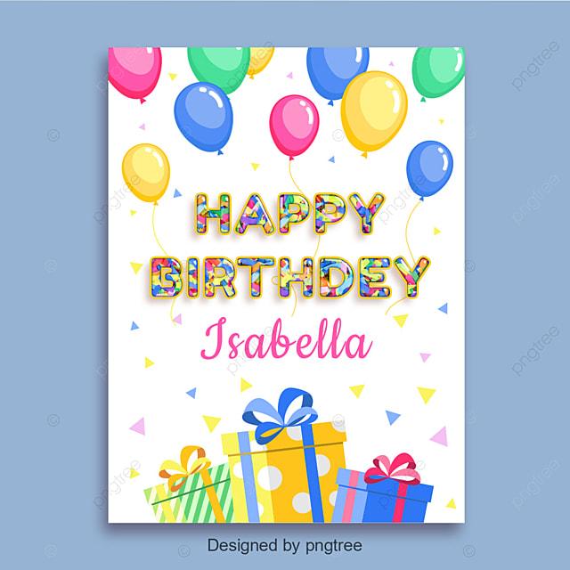 Happy Birthday Card Mit Ballons Und Geschenke Vorlage