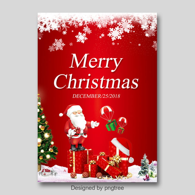Merry Christmas Poster 2018.Red Fashion Christmas Poster Design Template For Free