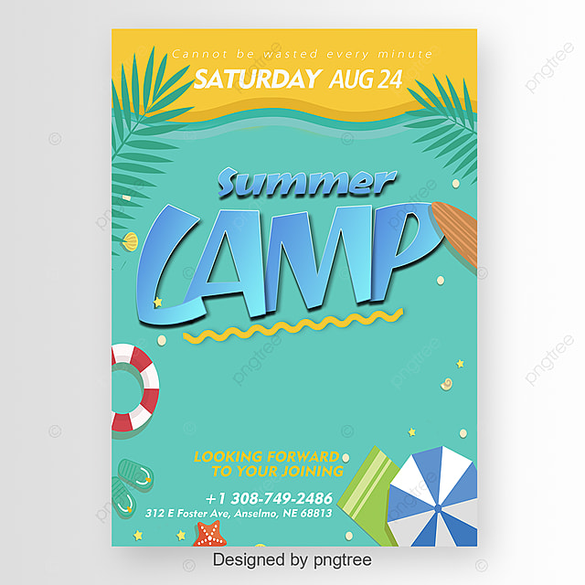 Summer Camp Poster With Cute Elements Template