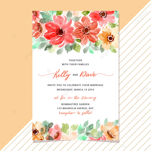 Wedding Invitation Template With Floral Watercolor