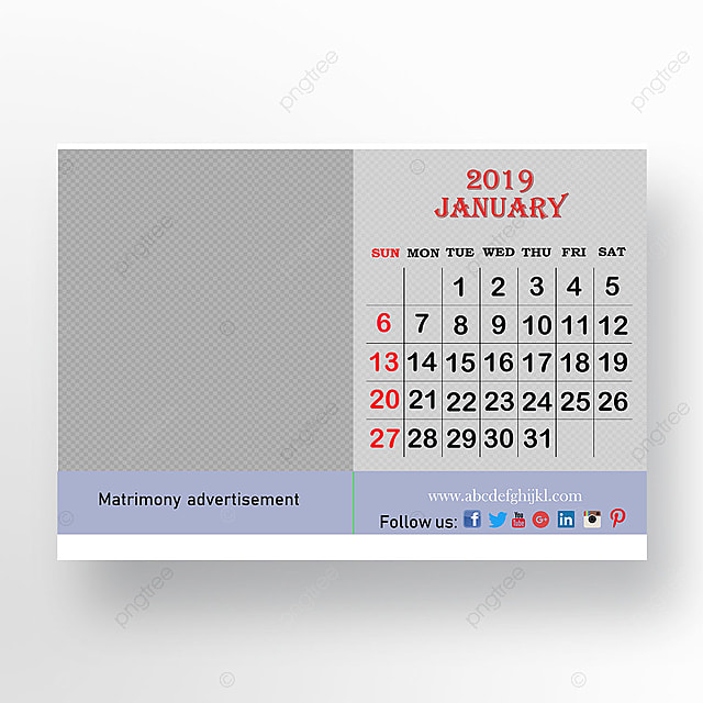 Table Top Calender January 2019 Template For Free Download On Pngtree