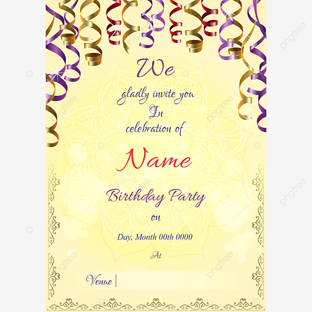 Yellow Gold Invitation Template Template For Free Download On Pngtree