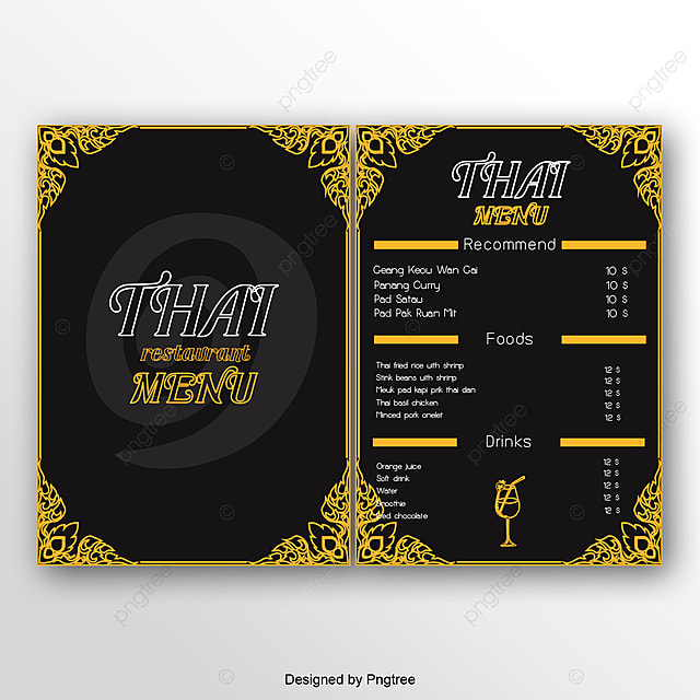 hand painted thailand menu design template for free