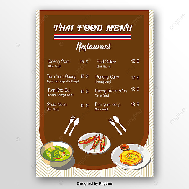 Thailand Menu Price List Template