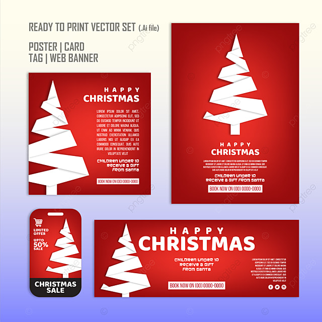 christmas poster card sale tag vector set template for free download