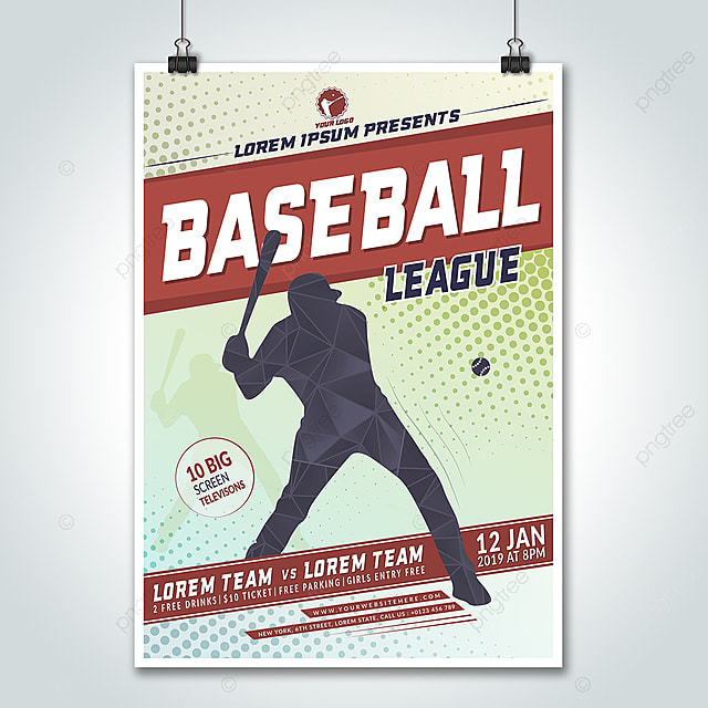 baseball league 2019 flyer design template for free download on pngtree