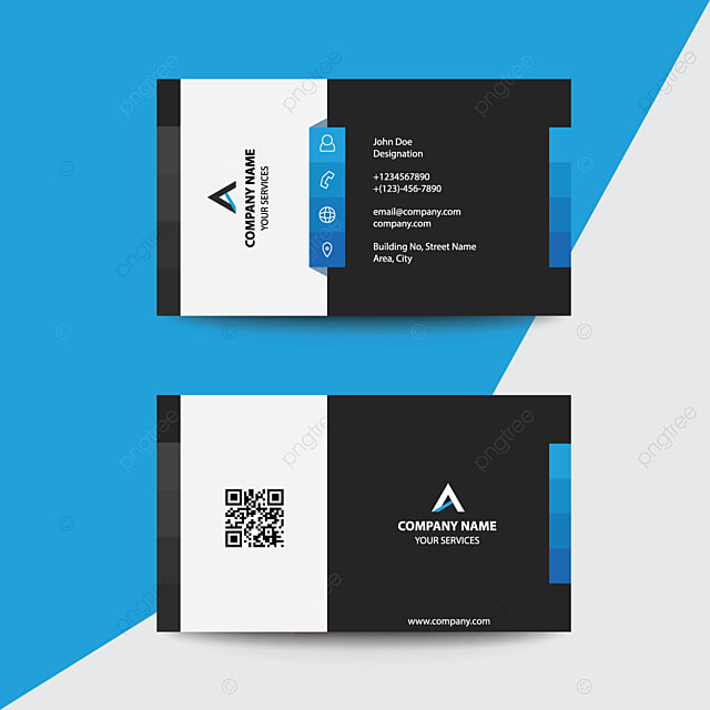 Clean Flat Design Blue Black Corporate Premium Business Visiting