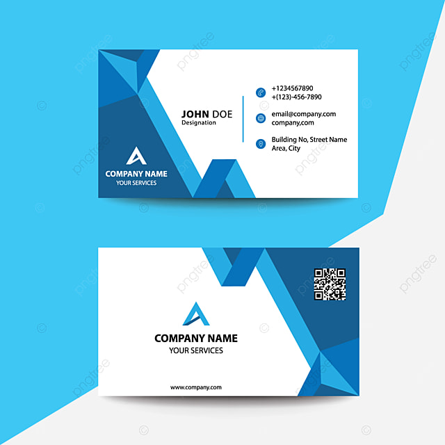 Clean Flat Design Blue Multi Fold Corporate Business Visiting Card