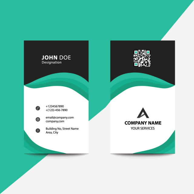 Clean Flat Design Green Fold Style Corporate Business Visiting Card