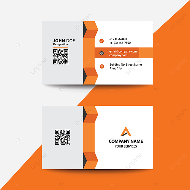 Clean Flat Design Orange Fold Style Corporate Business Visiting Card Template