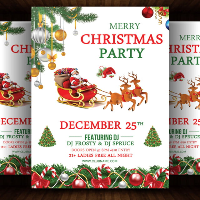Christmas Party Flyer Template.Happy Christmas Party Flyer Template Template For Free
