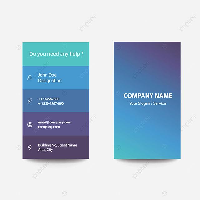 Le Style De Dessin Plat Propre Gradient Bleue Affaires Carte Visite Modele