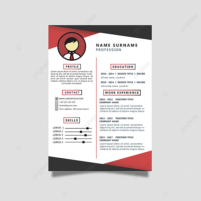 Curriculum Vitae With Black And Red Color Template For