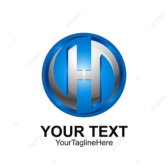 initial letter h logo template colored blue grey circle swoosh
