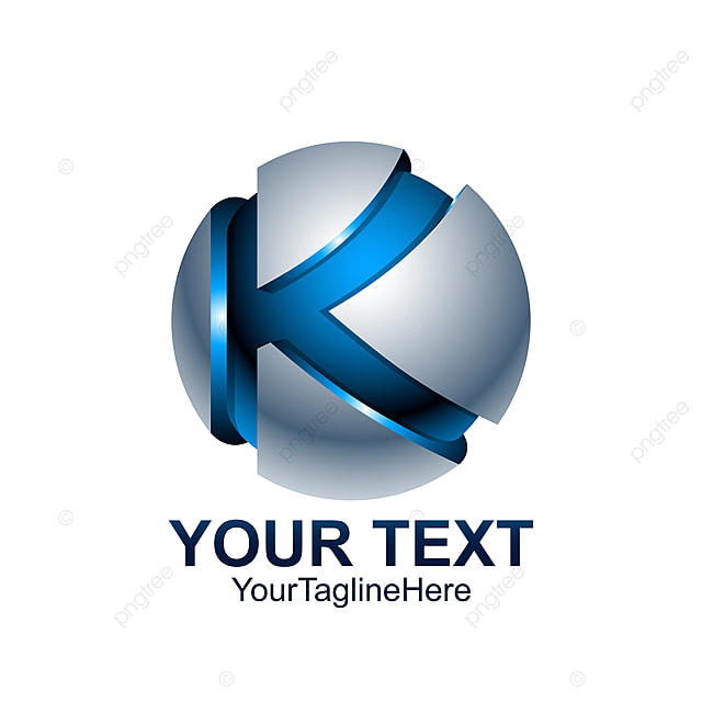 initial letter k logo template colored blue grey circle sphere template
