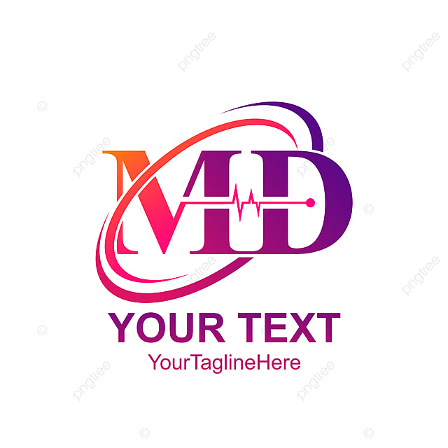 initial letter md logo template colorfull swoosh heartbeat