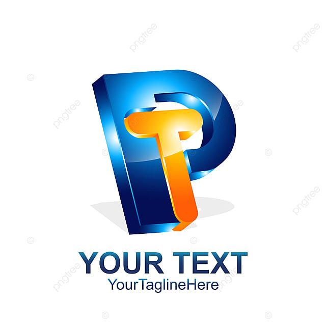 initial letter pt or tp logo template colored orange blue 3d
