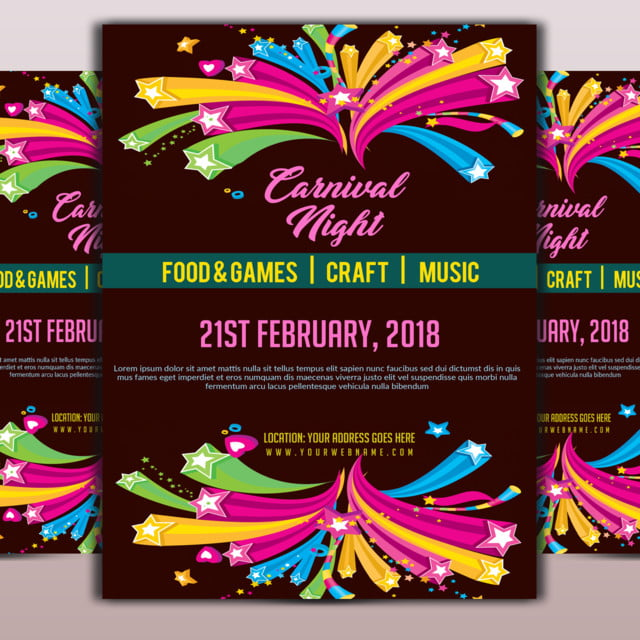 carnival night flyer template template for free download on pngtree