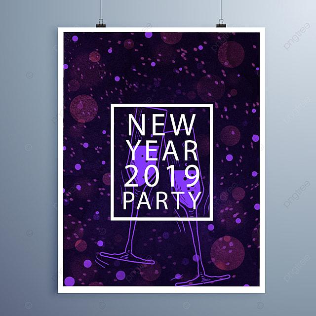 happy newyear card purple design template