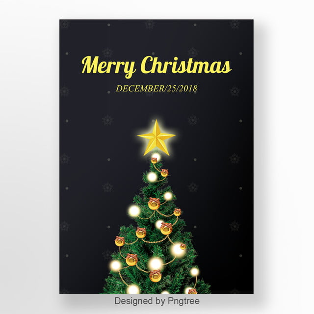 Merry Christmas Poster 2018.Simple And Exquisite Black Christmas Poster Design Template