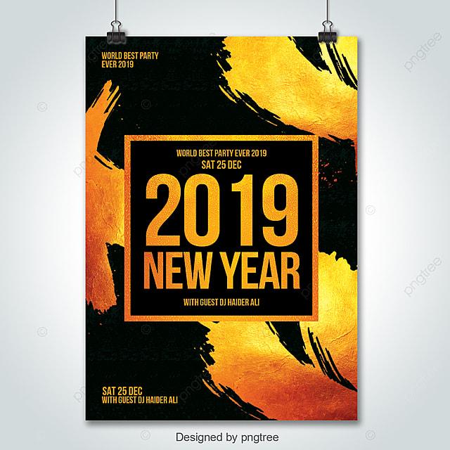 2019 golden new year flyer psd template