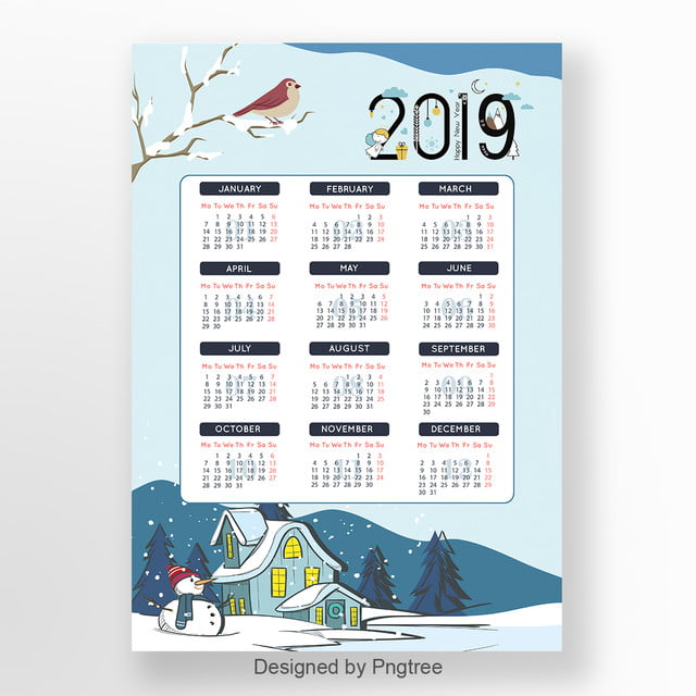Calendario Dibujo 2019.Calendario De Dibujos Animados De 2019 Descarga Gratuita De