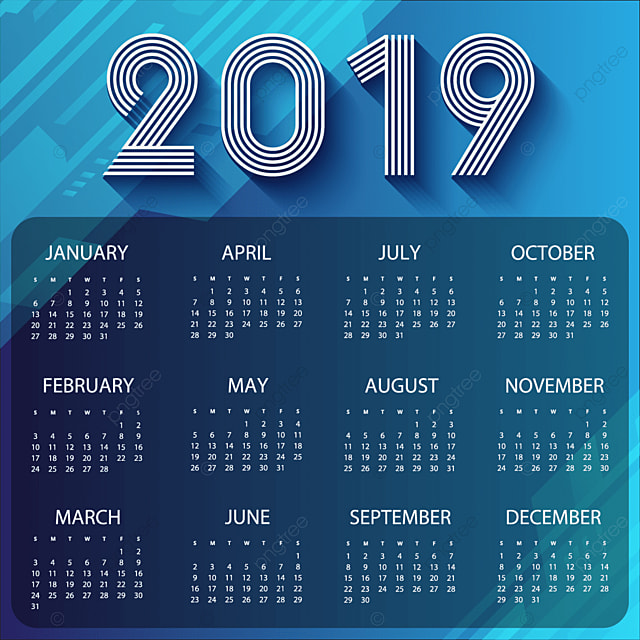 abstract 2019 calendar with blue tone background template