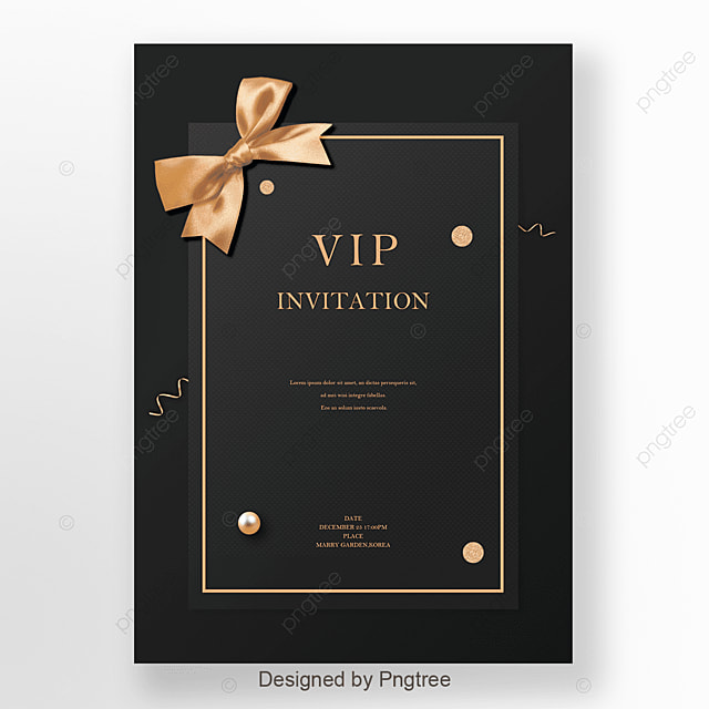 Black And Gold Business Invitation Template For Free