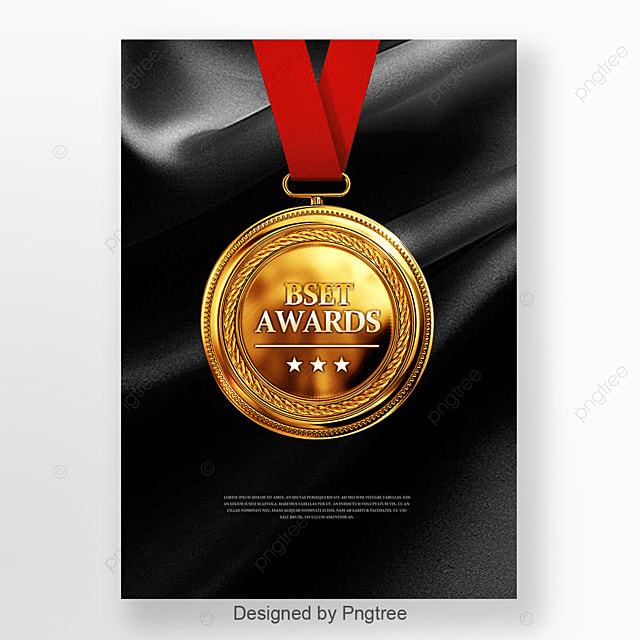 Black Silk Gold Medal Poster Template