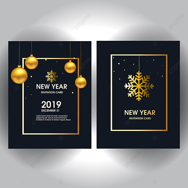 New Year Invitation Card Design With Stylized Christmas