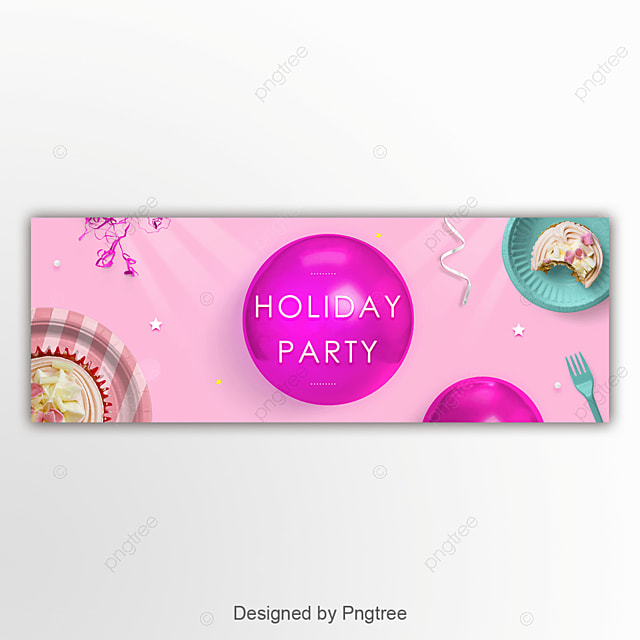 Pink Lovely Balloon Food Holiday Party Banners For Festival Events
