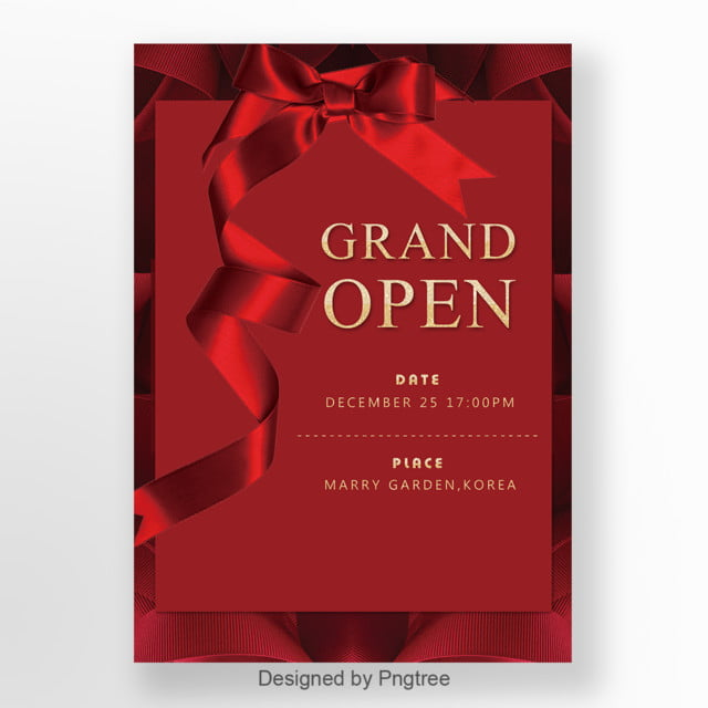 Red Ribbon Opening Promotion Invitation Letter Template