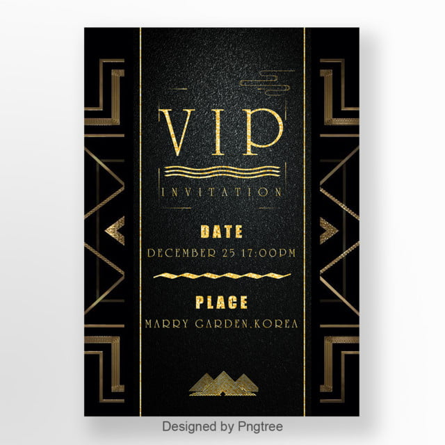 vip invitation letter of black business retro style