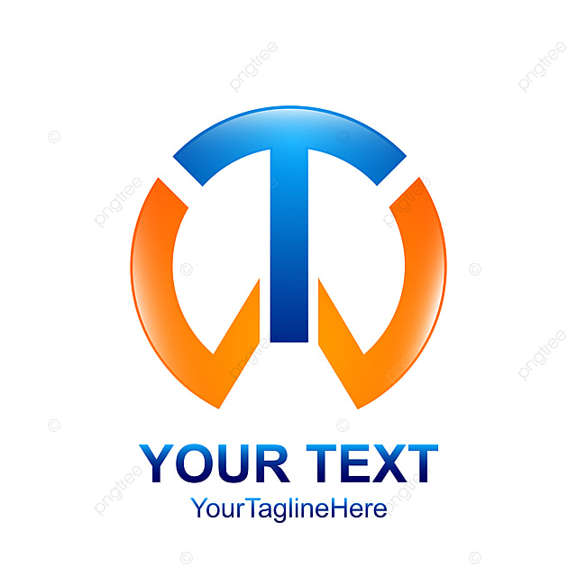 initial letter t or tw logo template colored silver blue circle template
