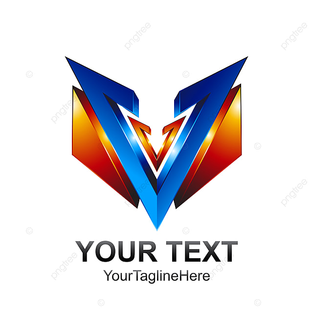Initial Letter V Logo Template Colored Blue Orange 3d