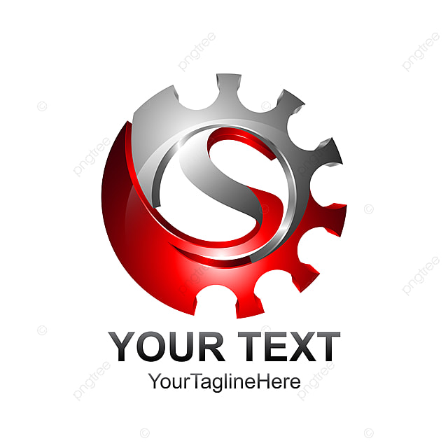Letter S Logo Design Template Colored Red Silver Gear