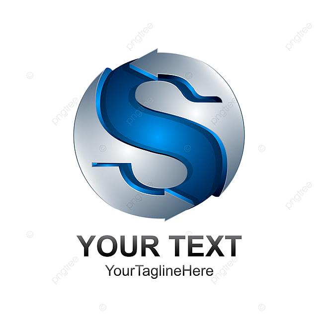 Letter S Logo Design Template Colored Silver Blue Sphere