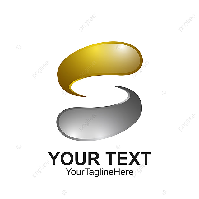 letter s logo design template colored silver gold water drop