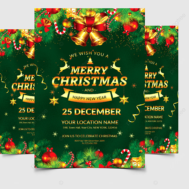 merry christmas card invitation template for free download
