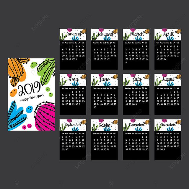 Calendario 2019 Moderno.Moderno Calendario 2019 Con Bel Cactus Modello Per Il