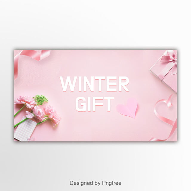 Pink Simple Flower Gift Box Ribbon Banner Template For Free Download