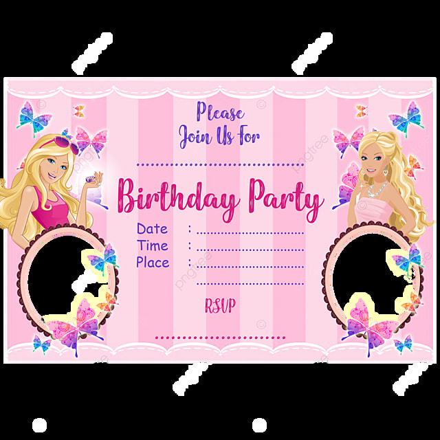 Barbie Birthday Invitation Card Template for Free Download
