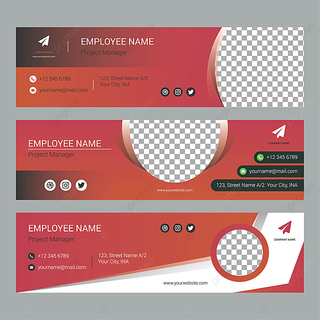 Gradient Email Signature Collection Template For Free Download On