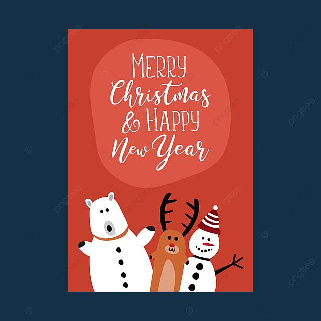 Natal Dan Tahun Baru Poster Ucapan Design Dengan Gambar Kartun