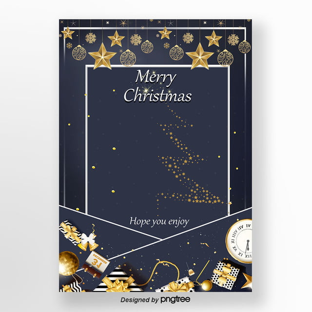 Blue Star English Christmas Invitation Card Template
