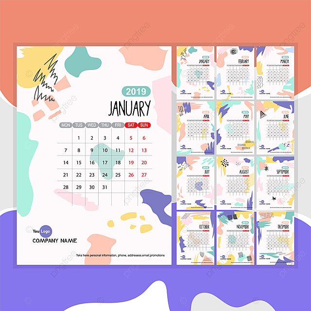Arctistic Monthly Calendar Template Design For New Years 2019 Cute