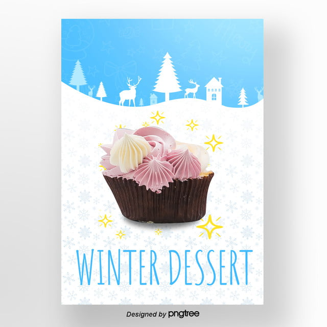 Blue Christmas Cherry Cake The Moose Winter Sweets Poster Template
