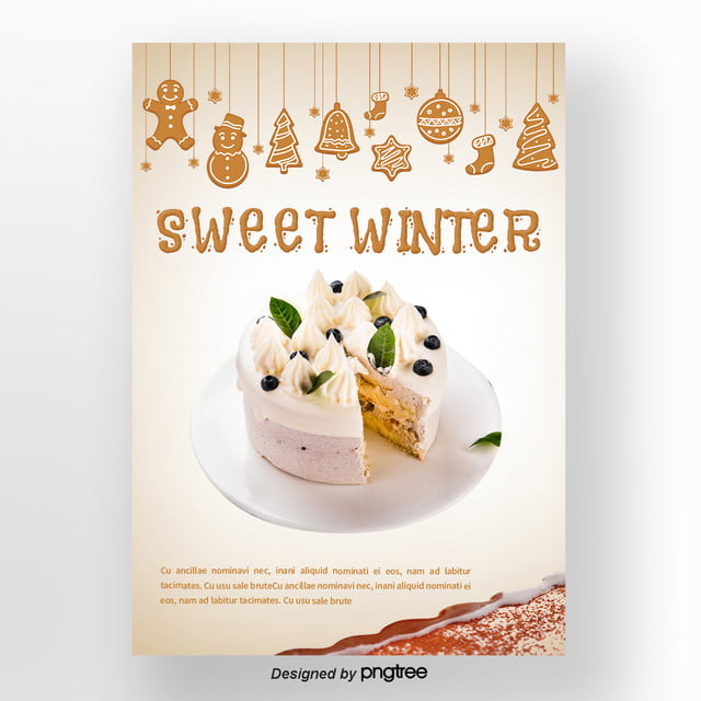 brown christmas cake gingerbread mite winter sweets poster template